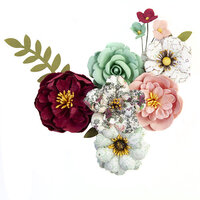Prima - Pretty Mosaic Collection - Flower Embellishments - Emerald Dream