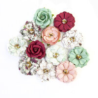Prima - Pretty Mosaic Collection - Flower Embellishments - Turquoise