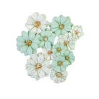 Prima - Pretty Mosaic Collection - Flower Embellishments - Jade