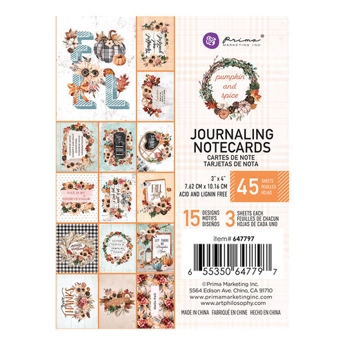 Prima - Pumpkin and Spice Collection - 3 x 4 Journaling Cards