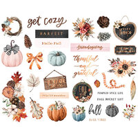 Prima - Pumpkin and Spice Collection - Chipboard Shapes with Foil Accents