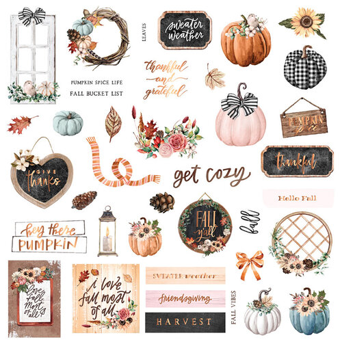 Prima - Pumpkin and Spice Collection - Ephemera 2 with Foil Accents