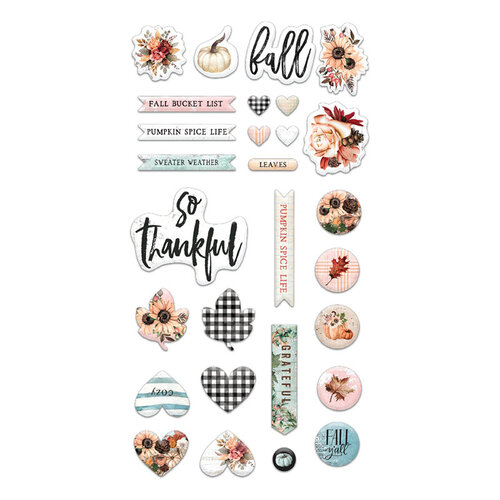 Prima - Pumpkin and Spice Collection - Puffy Stickers
