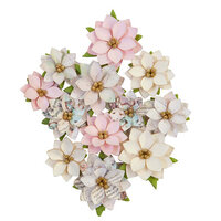 Prima - Sugar Cookie Christmas Collection - Flower Embellishments - Glittery Snow