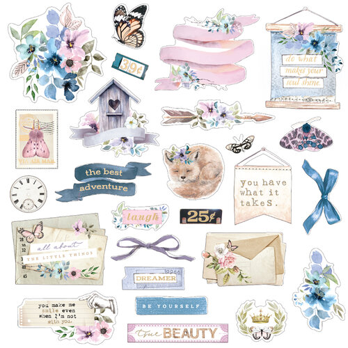 Prima - Watercolor Floral Collection - Ephemera - Set One