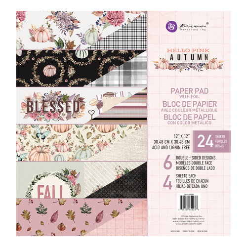 Prima - Hello Pink Autumn Collection - 12 x 12 Paper Pad