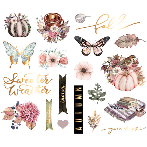 Prima - Hello Pink Autumn Collection - Chipboard Stickers With Foil Accents