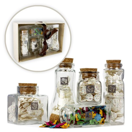 Prima - Special Edition - Apothecary Glass Jars of Mulberry Flowers in a Tray