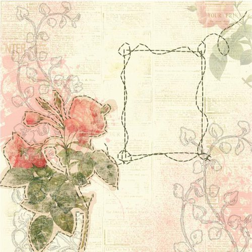 Prima - Sew Cute Collection - 12 x 12 Embroidered Paper - Cameo