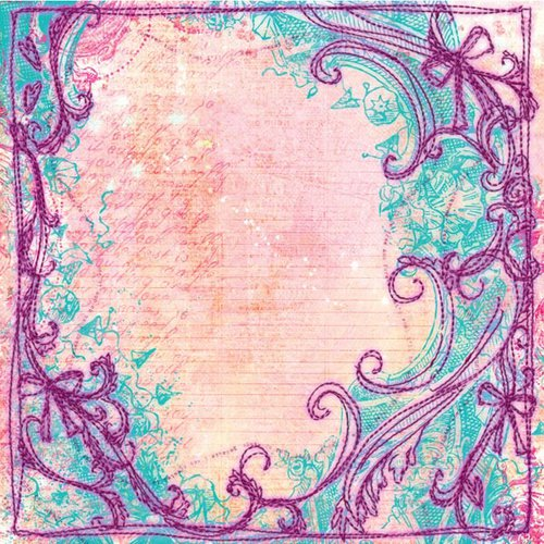 Prima - Sew Cute Collection - 12 x 12 Embroidered Paper - Arabesque
