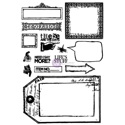 Prima - Everyday Vintage Collection - Cling Mounted Rubber Stamps