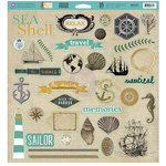 Prima - Seashore Collection - 12 x 12 Self Adhesive Chipboard Pieces