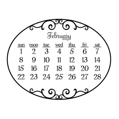 Prima - Clear Acrylic Stamp - 2009 Calendar - February, CLEARANCE