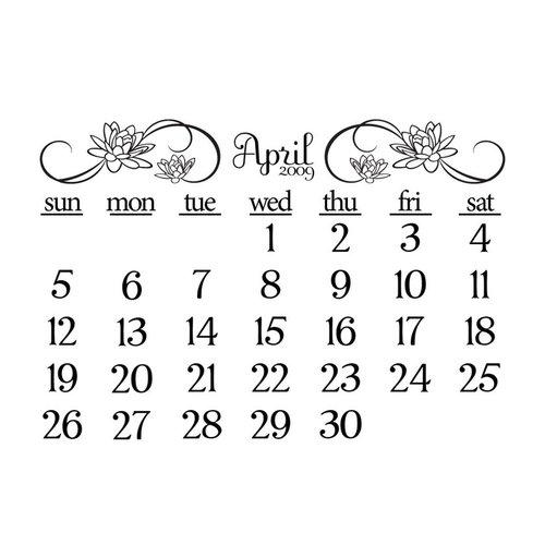 Prima - Clear Acrylic Stamp - 2009 Calendar - April, CLEARANCE
