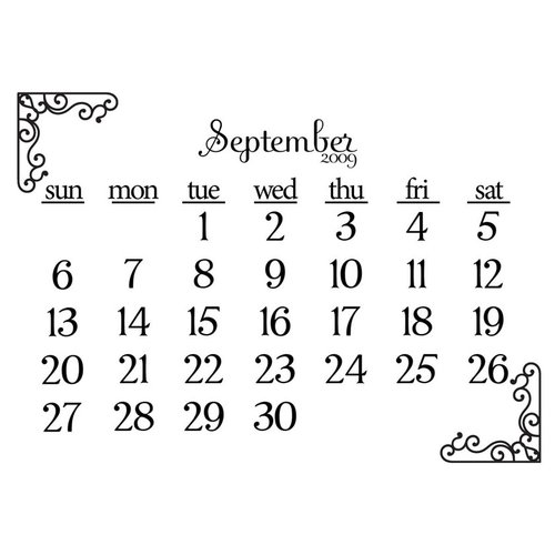 Prima - Clear Acrylic Stamp - 2009 Calendar - September, CLEARANCE