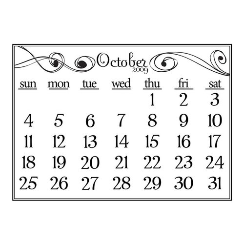 Prima - Clear Acrylic Stamp - 2009 Calendar - October, CLEARANCE