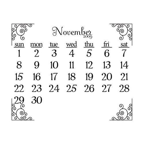 Prima - Clear Acrylic Stamp - 2009 Calendar - November, CLEARANCE