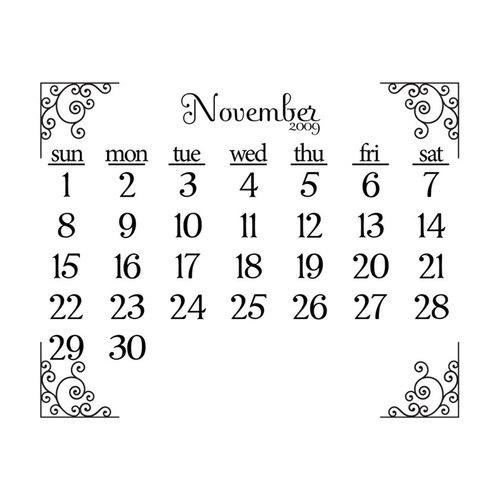 Prima - Clear Acrylic Stamp - 2009 Calendar - November, CLEARANCE