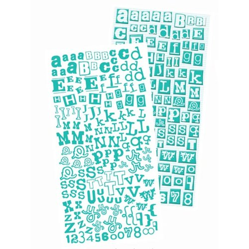 Prima - Alphablends - Stickers and Adhesive Chipboard - Alphabet - Teal, CLEARANCE