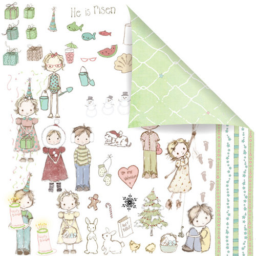 Prima - Celebrate Jack and Jill Collection - 12 x 12 Double Sided Paper - Celebrate