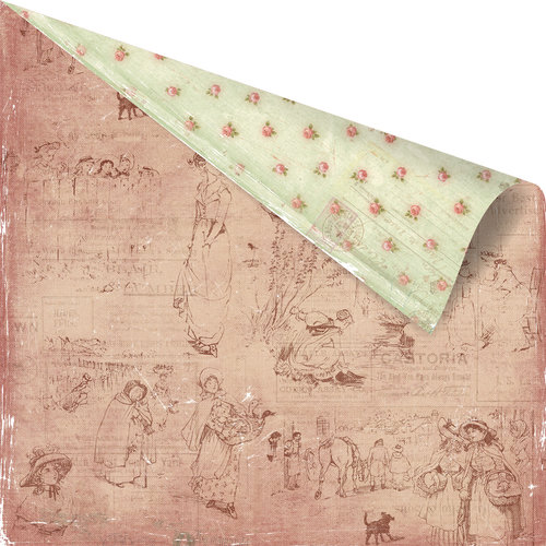 Prima - Romantique Collection - 12 x 12 Double Sided Paper - Gazette