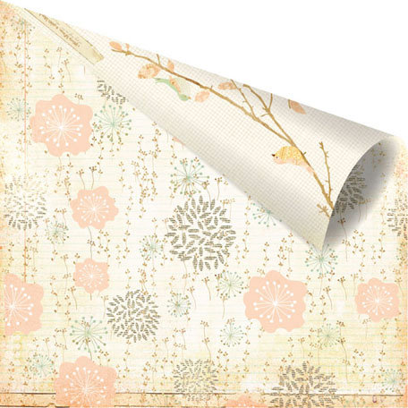 Prima - Songbird Collection - 12 x 12 Double Sided Paper - Zephyr