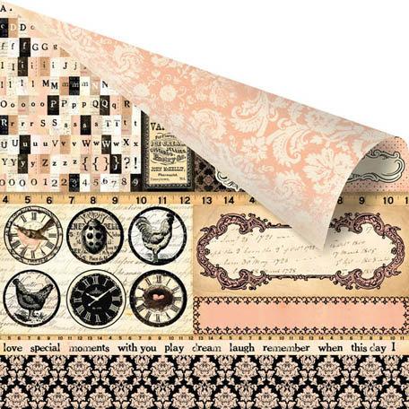 Prima - Almanac Collection - 12 x 12 Double Sided Paper - Edison
