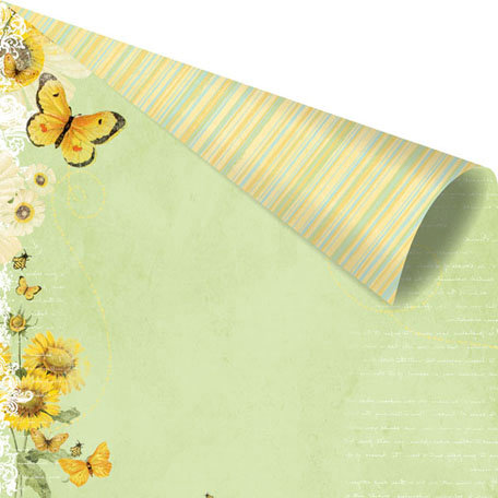 Prima - Sun Kiss Collection - 12 x 12 Double Sided Paper - Nectar Fields