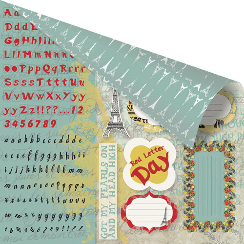 Prima - Welcome to Paris Collection - 12 x 12 Double Sided Paper - Cut Outs