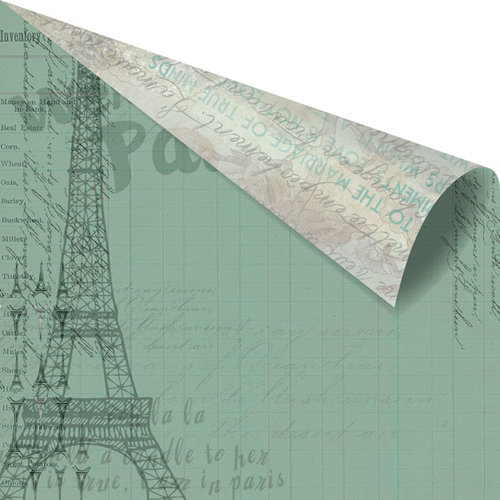 Prima - Welcome to Paris Collection - 12 x 12 Double Sided Paper - Ledger