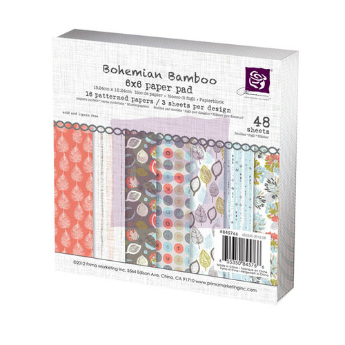Prima - Bohemian Bamboo Collection - 6 x 6 Paper Pad
