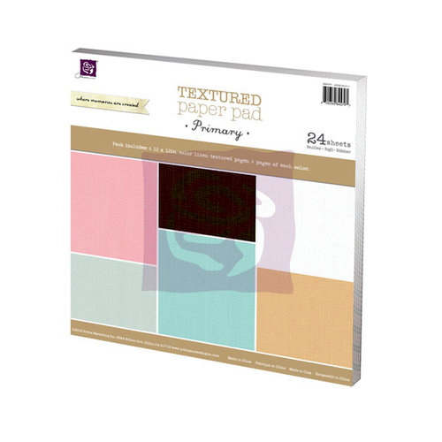 Prima - 12 x 12 Paper Pad - Linen Texture - Primary