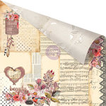 Prima - Rossibelle Collection - 12 x 12 Double Sided Paper with Foil Accents - Vintage Memories