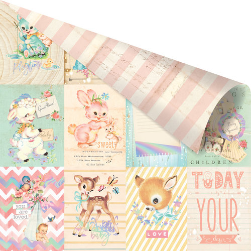 Prima - Heaven Sent 2 Collection - 12 x 12 Double Sided Paper - Welcome Baby with Foil Accents