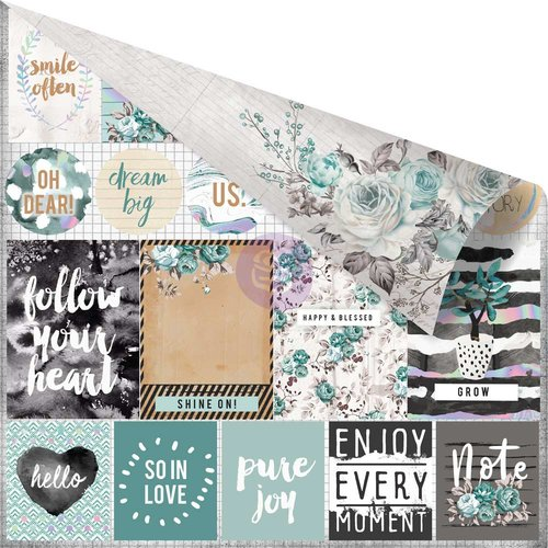 Prima - Zella Teal Collection - 12 x 12 Double Sided Paper - Live Loudly with Foil Accents