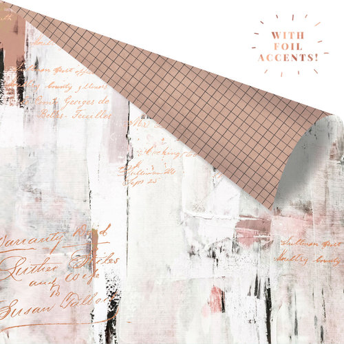 Prima - Amelia Rose Collection - 12 x 12 Double Sided Paper - Texture Lover with Foil Accents