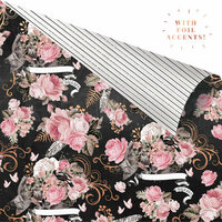 Prima - Amelia Rose Collection - 12 x 12 Double Sided Paper - Dark Florals with Foil Accents