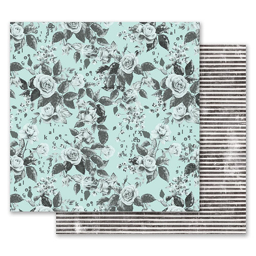 Prima - Flirty Fleur Collection - 12 x 12 Double Sided Paper - Something Floral with Foil Accents