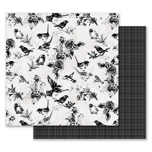 Prima - Flirty Fleur Collection - 12 x 12 Double Sided Paper - Pretty Birds with Foil Accents