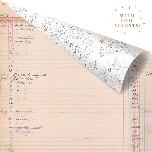 Prima - Lavender Collection - 12 x 12 Double Sided Paper - My Last Note with Foil Accents
