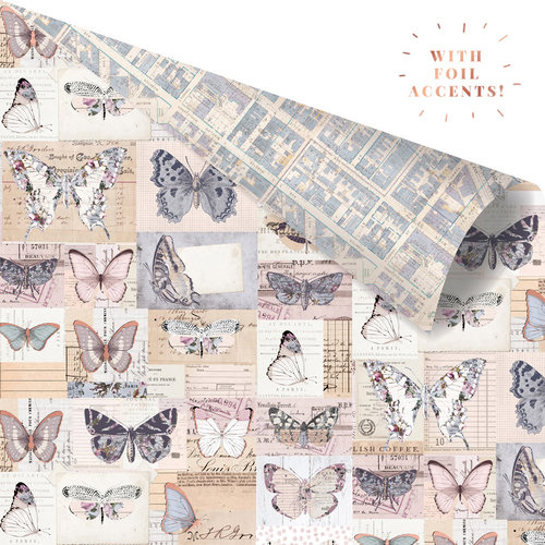 Prima - Lavender Collection - 12 x 12 Double Sided Paper - I'll Fly With You with Foil Accents