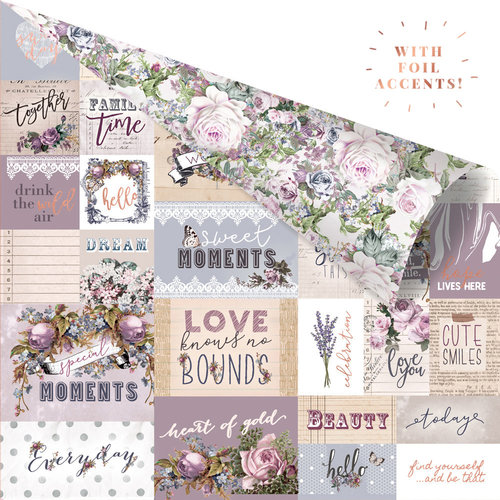 Prima - Lavender Collection - 12 x 12 Double Sided Paper - Communication Through Love with Foil Accents