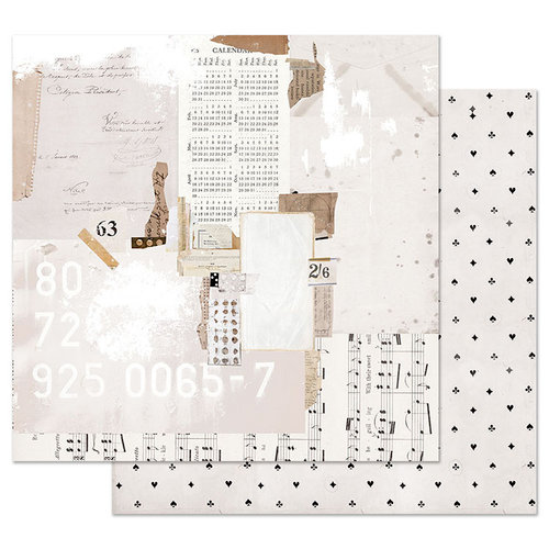 Prima - Pretty Pale Collection - 12 x 12 Double Sided Paper with Foil Accents - Recounting the Days