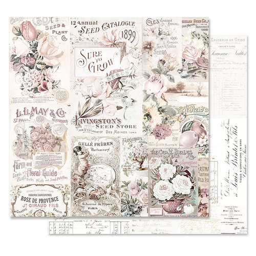Prima - Lavender Frost Collection - 12 x 12 Double Sided Paper - My Lovely Garden