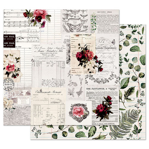 Prima - Midnight Garden Collection - 12 x 12 Double Sided Paper with Foil Accents - Rose Receipts