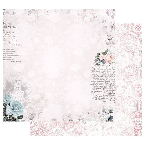 Prima - Poetic Rose Collection - 12 x 12 Double Sided Paper with Foil Accents - Waiting for the One