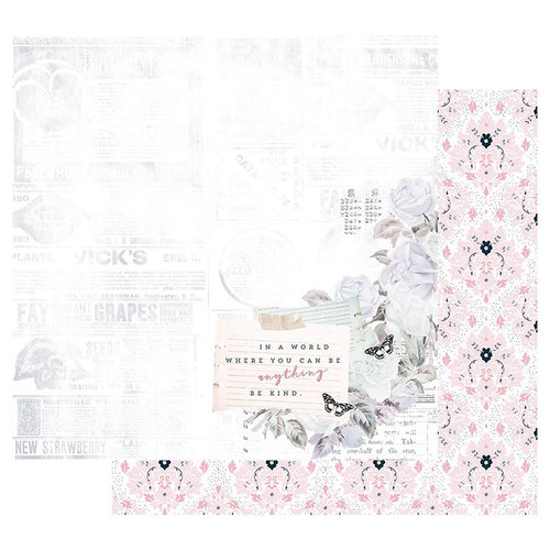 Prima - Poetic Rose Collection - 12 x 12 Double Sided Paper with Foil Accents - Kindness Takes Over