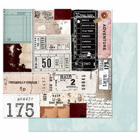 Prima - Midnight Garden Collection - 12 x 12 Double Sided Paper with Foil Accents - Traveling Tickets