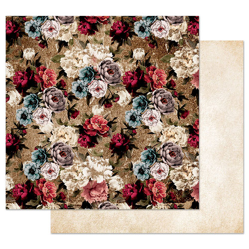 Prima - Midnight Garden Collection - 12 x 12 Double Sided Paper with Foil Accents - More Roses Please