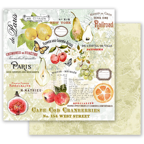 Prima - Fruit Paradise Collection - 12 x 12 Double Sided Paper - The Special with Foil Accents